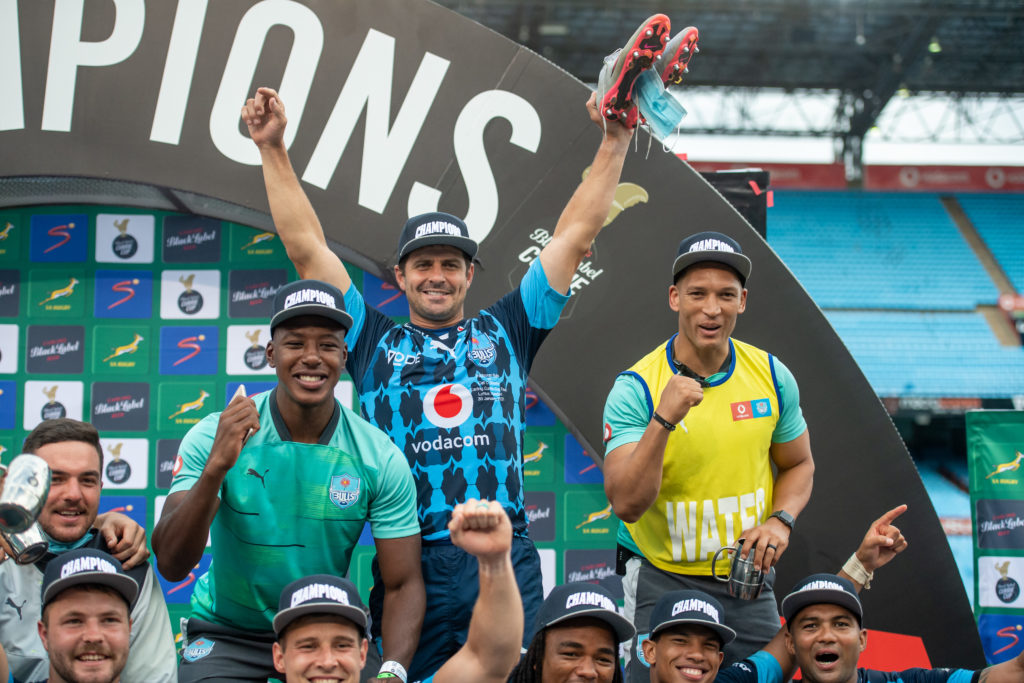 PRETORIA, SOUTH AFRICA - JANUARY 30: Morne Steyn celebrates after the Carling Currie Cup final match between Vodacom Bulls and Cell C Sharks at Loftus Versfeld Stadium on January 30, 2021 in Pretoria, South Africa.