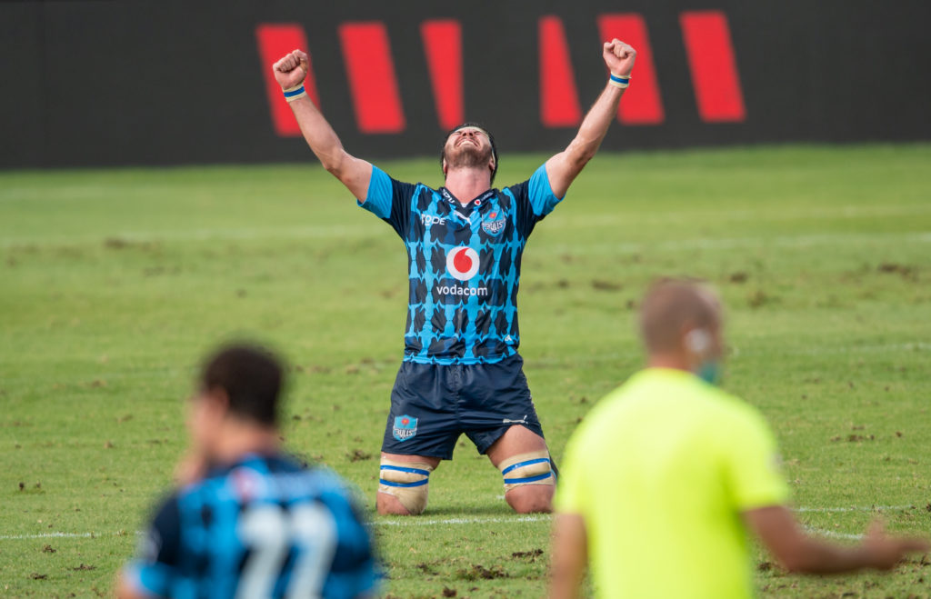 Ruan Nortje celebrates the Bulls' Currie Cup victory
