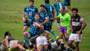 Bulls flank Arno Botha celebrates after scoring the winning try