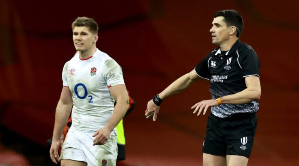 England captain Owen Farrell and referee Pascal Gauzere / rankings