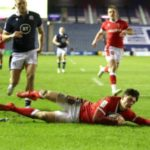 Louis Rees-Zammit scores for Wales in the Six Nations