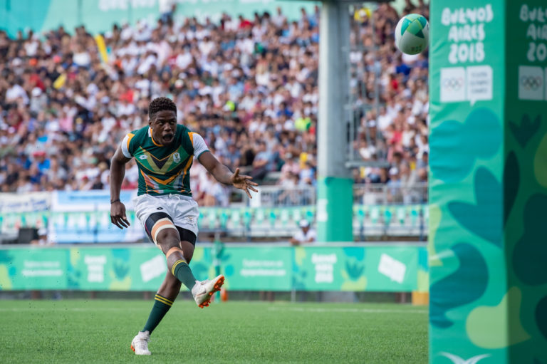 Muzi Manyike slots a conversion during the 2018 Youth Olympic Games