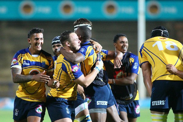 UWC celebrate a win in the Varsity Cup Bloemfontein