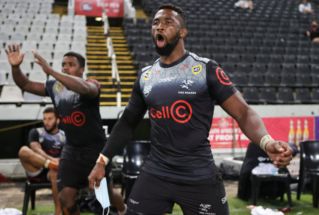 Siya Kolisi reacts as the Sharks score a try Everitt