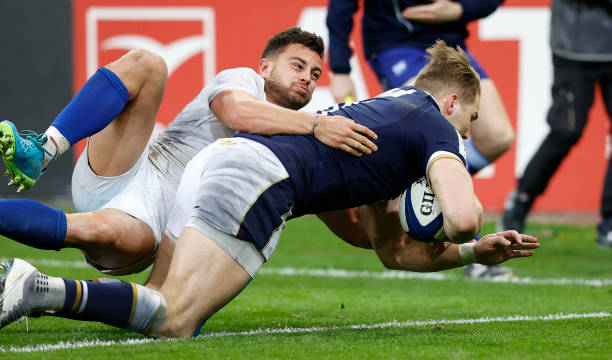 Duhan van der Merwe scores his second try for Scotland