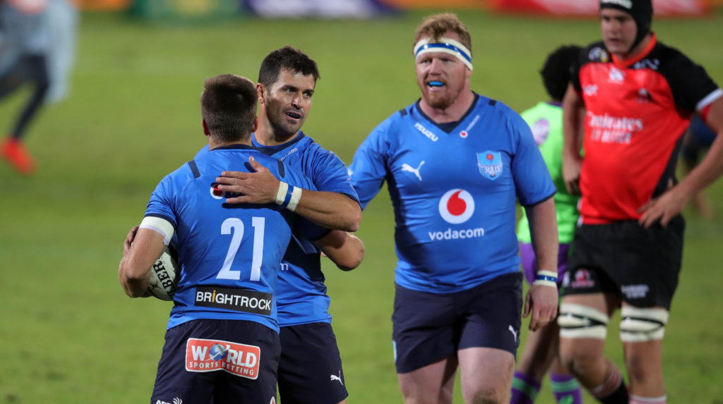 Zak Burger of the Bulls celebrates with teammates a try during the 2021 Rainbow Cup match between Bulls and Lions at Loftus Versfeld, Pretoria, on 01 May 2021 ©Samuel Shivambu/BackpagePix