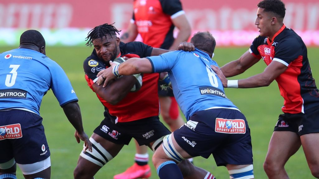 Vincent Tshikaya Tshituka of the Lions challenged by Duane Vermeulen and Trevor Nyakane of the Bulls during the 2021 Rainbow Cup SA match between Lions and Bulls at Ellis Park Stadium in Johannesburg on the 22 May 2021 ©Muzi Ntombela/BackpagePix