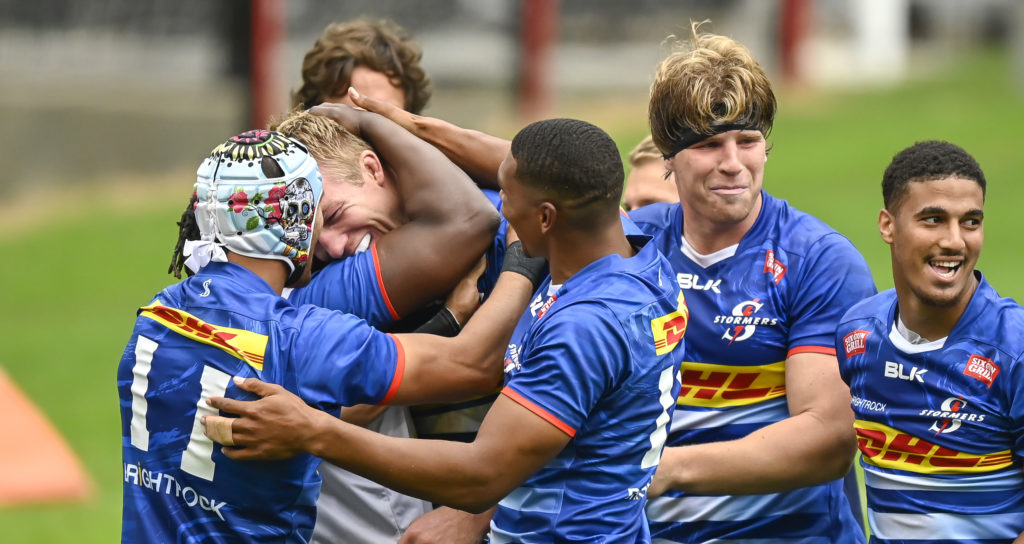 Stormers celebrate as Pieter-Steph du Toit of the DHL Stormers scores for his side during the 2021 Rainbow Cup SA game between the Sharks and the Stormers at Kings Park Stadium on 22 May 2021 © Gerhard Duraan/BackpagePix
