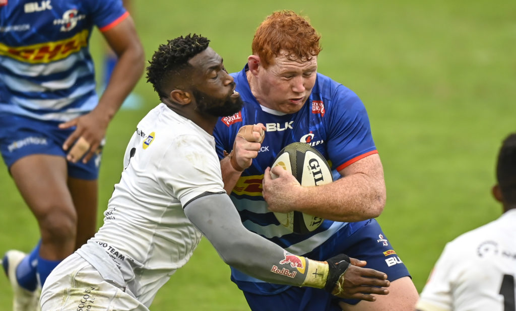 Siya Kolisi of the Cell C Sharks stops the drive of Steven Kitshoff, Captain of the DHL Stormers during the 2021 Rainbow Cup SA game between the Sharks and the Stormers at Kings Park Stadium on 22 May 2021 © Gerhard Duraan/BackpagePix