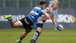 Sale Sharks' Faf De Klerk (right) tackled by Bath Rugby's Cameron Redpath during the Gallagher Premiership match at the Recreation Ground, Bath. Picture date: Friday May 14, 2021. (Photo by David Davies/PA Images via Getty Images)