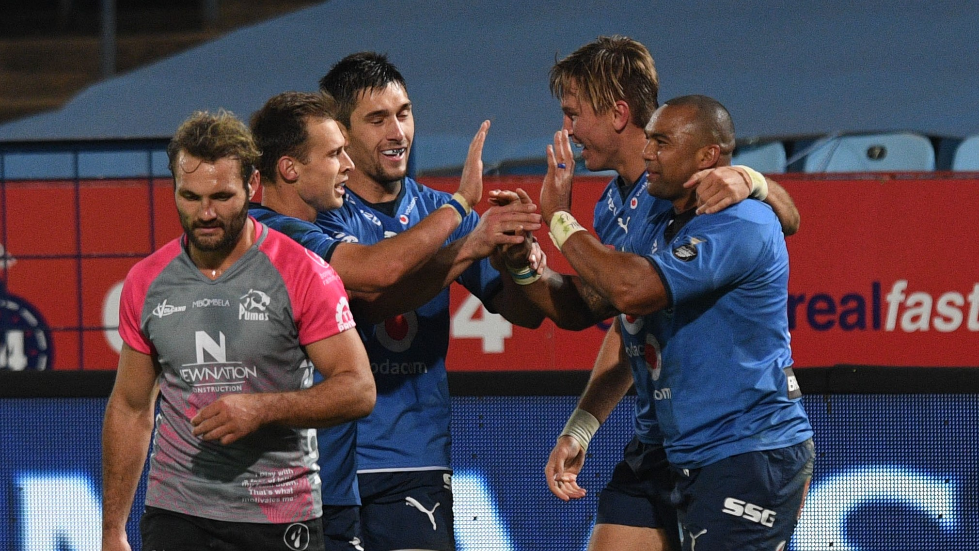 Cornal Hendricks of Bulls celebrates a try with teammates during the Carling Black Label Currie Cup Rugby match between Bulls and Pumas on 25 June 2021 at the Loftus Versfeld Stadium / Pic Sydney Mahlangu/BackapagePix