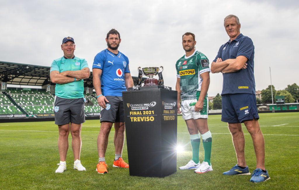 Guinness PRO14 Rainbow Cup Final Photocall, Stadio di Monigo, Treviso, Italy 18/6/2021 Vodacom Blue Bulls head coach Jake White, captain Marcell Coetzee and Benetton Rugby captain Dewaldt Duvenage and head coach Kieran Crowley Mandatory Credit