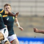 MANCHESTER, ENGLAND - JUNE 15: Edwill Van Der Merwe (L) of South Africa slips a tackle during the World Rugby U20 Championship match at The Academy Stadium on June 15, 2016 in Manchester, England. (Photo by Clint Hughes/Getty Images)
