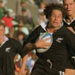 Mark Ellis on the charge for the All Blacks against Japan in 1995