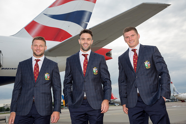New Lions Captain Conor Murray (centre) with Dan Biggar (left) and Owen Farrell (right) as the British and Irish Lions depart for South Africa from Edinburgh Airport. Picture date: Sunday 27th June, 2021. (Photo by Robert Perry/PA Images via Getty Images)