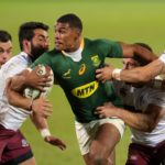 Damian Willemse of South Africa challenged by Giorgi Kveseladze (l) and Merab Sharikadze of Georgia during the 2021 International Test Match Rugby Series between South Africa and Georgia at Loftus Stadium, Pretoria on 02 July 2021 ©Muzi Ntombela/BackpagePix