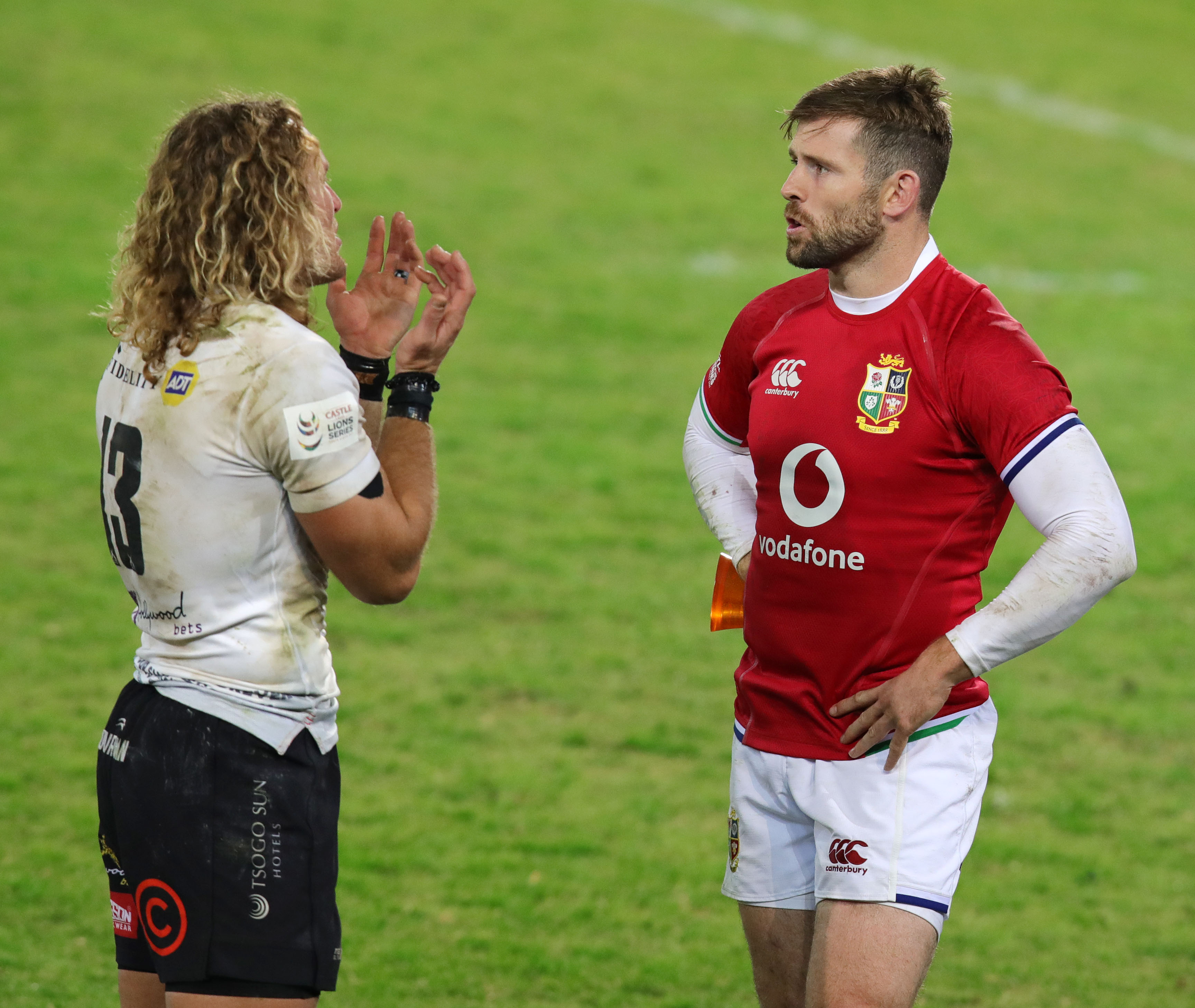 Werner Kok of the Sharks (l) with Elliot Daly of the BI Lions during the 2021 British and Irish Lions Tour rugby match between the Sharks and BI Lions at Loftus Stadium, Pretoria on 10 July 2021 ©Muzi Ntombela/BackpagePix
