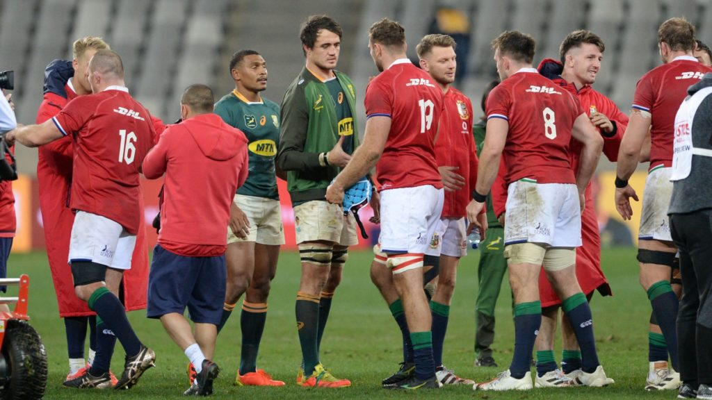 Players shake hands after the 2021 British and Irish Lions Tour first test between South Africa and BI Lions at Cape Town Stadium on 24 July 2021 ©Ryan Wilkisky/BackpagePix