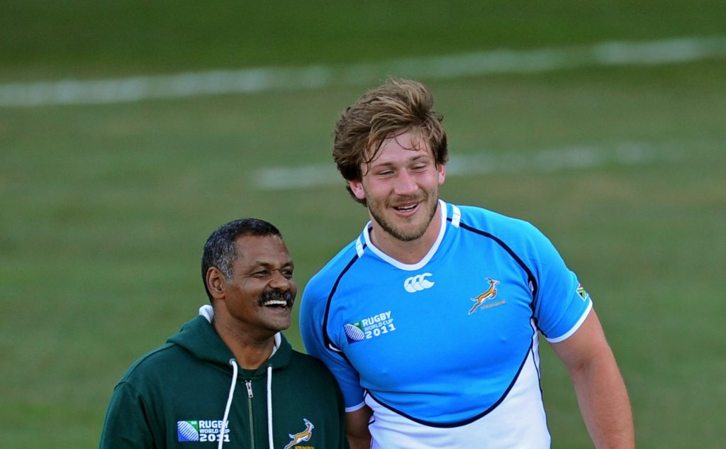 WELLINGTON, NEW ZEALAND - SEPTEMBER 05: Springbok head coach Peter de Villiers (L) speaks with Francois Steyn during a South Africa IRB Rugby World Cup 2011 training session at Rugby League Park on September 5, 2011 in Wellington, New Zealand.
