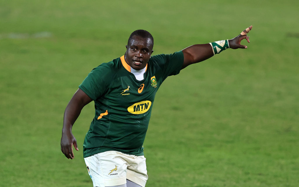 Trevor Nyakane of South Africa looks on during the Rugby Union international match between South Africa and Georgia at Loftus Versfeld Stadium on July 02, 2021 in Pretoria, South Africa.