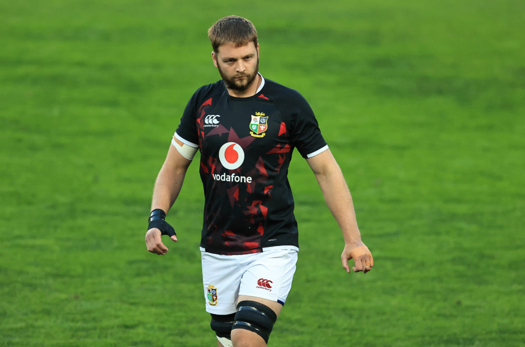 Iain Henderson of the British and Irish Lions looks on in the warm up prior to the Sigma Lions v British & Irish Lions tour match at Emirates Airline Park on July 03, 2021 in Johannesburg, South Africa.