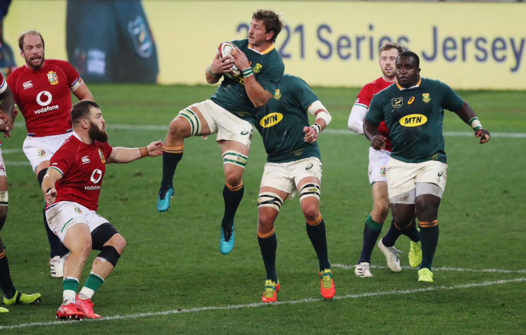 Rugby Union - First Test - South Africa v British and Irish Lions - Cape Town Stadium, Cape Town, South Africa - July 24, 2021 South Africa's Kwagga Smith in action