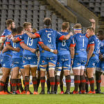 BLOEMFONTEIN, SOUTH AFRICA - OCTOBER 16: Team huddle of Vodacom Bulls during the Super Rugby Unlocked match between the Toyota Cheetahs and Vodacom Bulls on October 16, 2020 at Toyota Stadium in Bloemfontein, South Africa