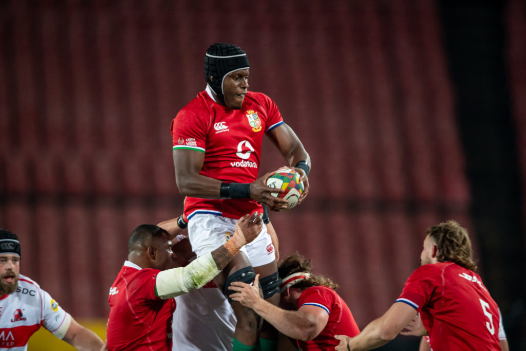 Maro Itoje of the British & Irish Lions in action during the Tour match between Sigma Lions and British and Irish Lions at Emirates Airline Park on July 03, 2021 in Johannesburg, South Africa.