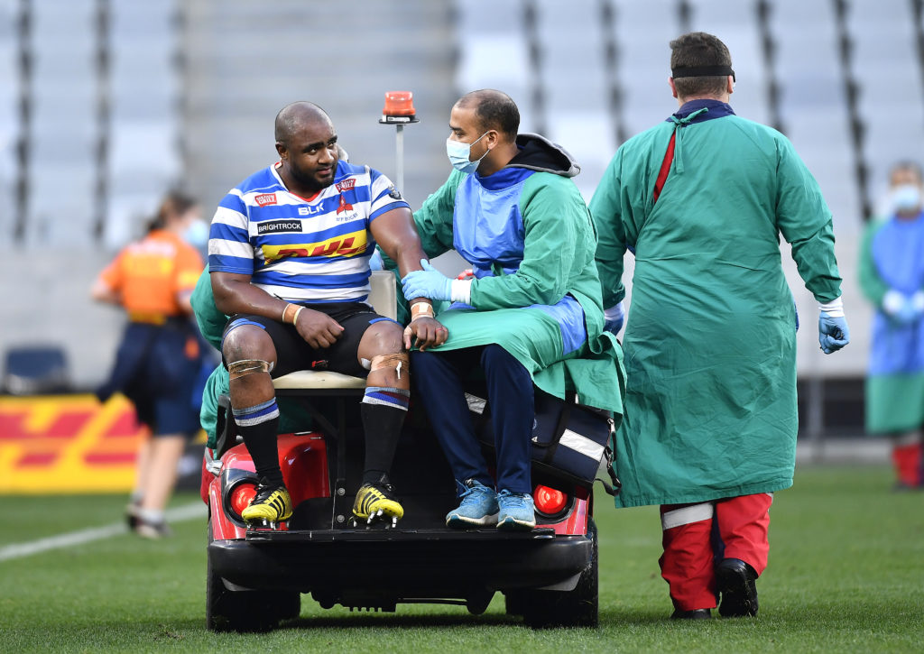 CAPE TOWN, SOUTH AFRICA - JULY 07: Ali Vermaak of WP injured during the Carling Currie Cup match between DHL Western Province and Tafel Lager Griquas at Cape Town Stadium on July 07, 2021 in Cape Town, South Africa.
