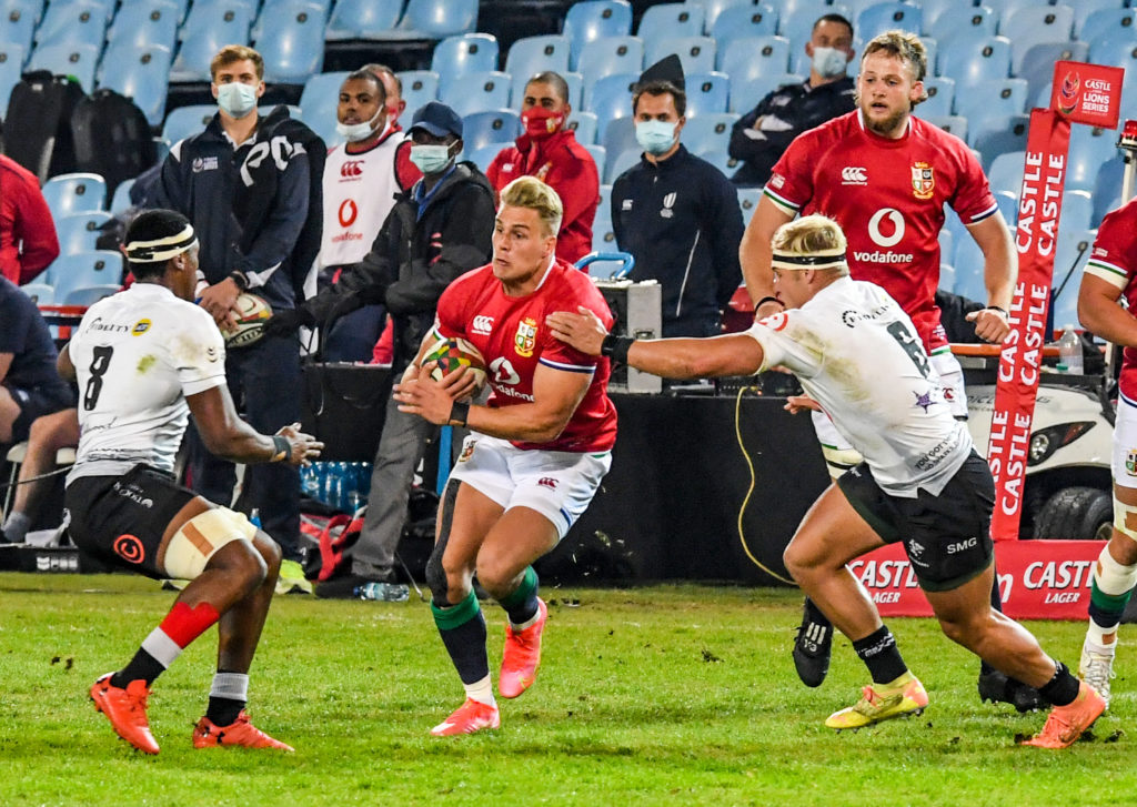 PRETORIA, SOUTH AFRICA - JULY 10: Duhan van der Merwe of the British and Irish Lions with the ball during the Tour match between Cell C Sharks and British and Irish Lions at Loftus Versfeld Stadium on July 10, 2021 in Pretoria, South Africa.