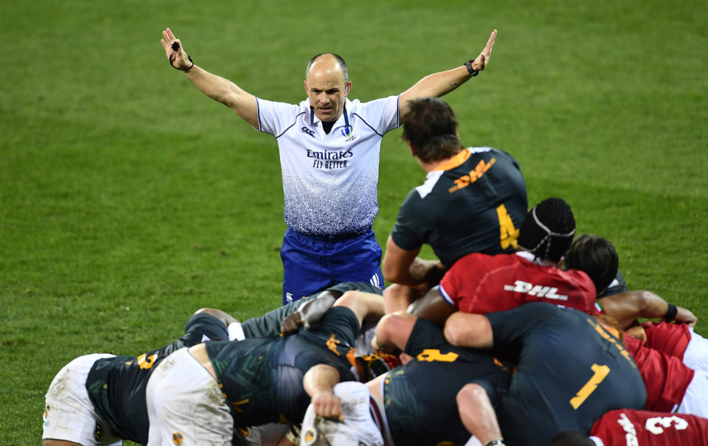 CAPE TOWN, SOUTH AFRICA - JULY 14: Referee, Jaco Peyper during the Tour match between South Africa A and British and Irish Lions at Cape Town Stadium on July 14, 2021 in Cape Town, South Africa. Springboks