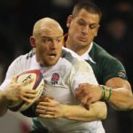 LONDON, ENGLAND - NOVEMBER 27: Mike Tindall of England is tackled by Pierre Spies and Frans Steyn (13) of South Africa during the Investec Challenge match between England and South Africa at Twickenham Stadium on November 27, 2010 in London, England. (Photo by Warren Little/Getty Images)