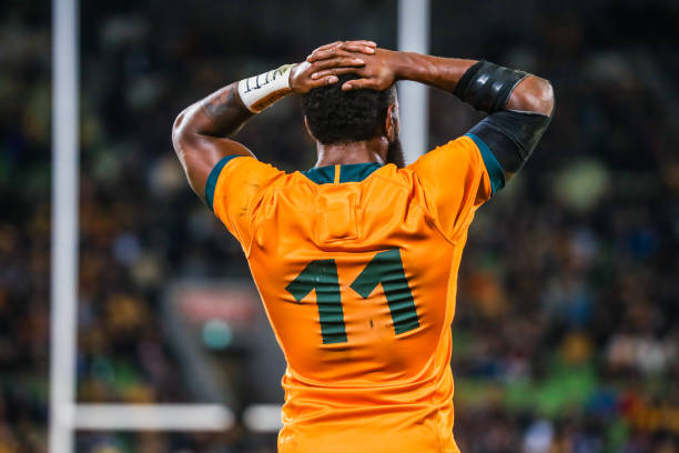 Wallabies wing MELBOURNE, AUSTRALIA - JULY 13 2021: Marika Koroibete of the Wallabies reacts to a conceded try in the international Test match between the Australian Wallabies and France at AAMI Park on July 13, 2021 in Melbourne, Australia (Photo credit should read