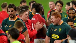 Cape Town , South Africa - 24 July 2021; Lions players applaud the South Africa players who they defeated in the first test of the British and Irish Lions tour match between South Africa and British and Irish Lions at Cape Town Stadium in Cape Town, South Africa. (Photo By Ashley Vlotman/Sportsfile via Getty Images)