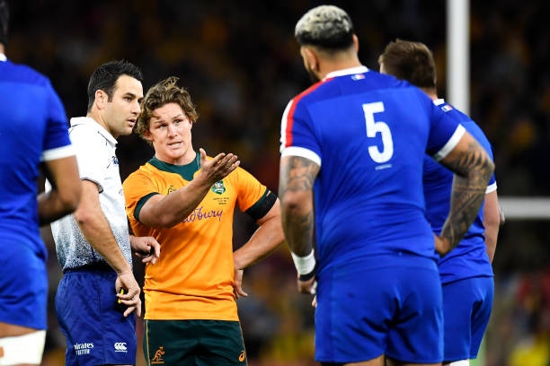BRISBANE, AUSTRALIA - JULY 17: Michael Hooperof the Wallabies makes his point to the referee after Marika Koroibete of the Wallabies was sent off for a high tackle during the International Test Match between the Australian Wallabies and France at Suncorp Stadium on July 17, 2021 in Brisbane, Australia. Mitchell