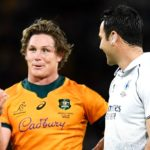 BRISBANE, AUSTRALIA - JULY 17: Michael Hooper of the Wallabies speaks to referee Ben O'Keeffe during the International Test Match between the Australian Wallabies and France at Suncorp Stadium on July 17, 2021 in Brisbane, Australia. (Photo by Albert Perez/Getty Images)