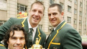 SOUTH AFRICA - OCTOBER 26: Victor Matfield, Bakkies Botha and Pierre Spies of South Africa hold the Webb-Ellis Cup during the Springboks Rugby World Cup victory parade between Pretoria and Johannesburg, on October 26, 2007 in South Africa. (Photo by Duif du Toit/Gallo Images/Getty Images)