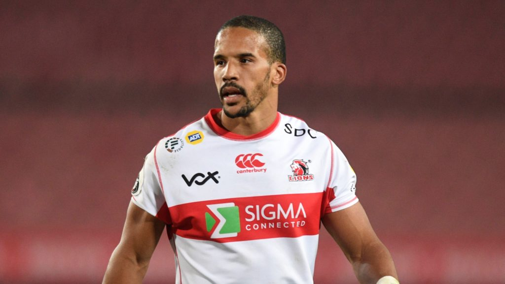 Courtnall Skosan of Lions during the 2021 Carling Black Label Currie Cup rugby match between Lions and Pumas on 30 July 2021 at Emirates Airline Park / Pic Sydney Mahlangu/BackapagePix