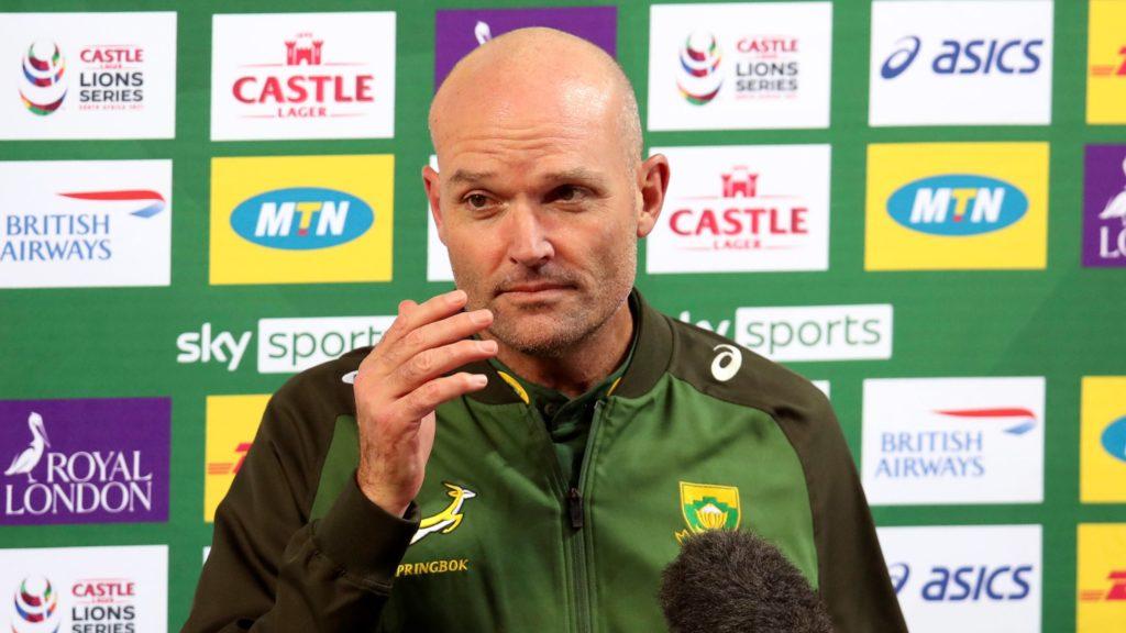 Jacques Nienaber, coach of South Africa during the Second Test of the 2021 British and Irish Lions Rugby Tour between South Africa and BI Lions at Cape Town Stadium on 31 July 2021 ©BackpagePix