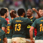 Makazole Mapimpi of South Africa celebrates with try scorer Lukhanyo Am of South Africa during the 2021 British and Irish Lions Tour second test between South Africa and BI Lions at Cape Town Stadium on 31 July 2021 ©Ryan Wilkisky/BackpagePix