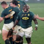 Trevor Nyakane of South Africa reacts as Lions concede penalty, Kyle Sinckler of BI Lions reacts in disappointment during the Third Test of the 2021 British and Irish Lions Rugby Tour between South Africa and BI Lions at Cape Town Stadium on 07 August 2021 ©BackpagePix