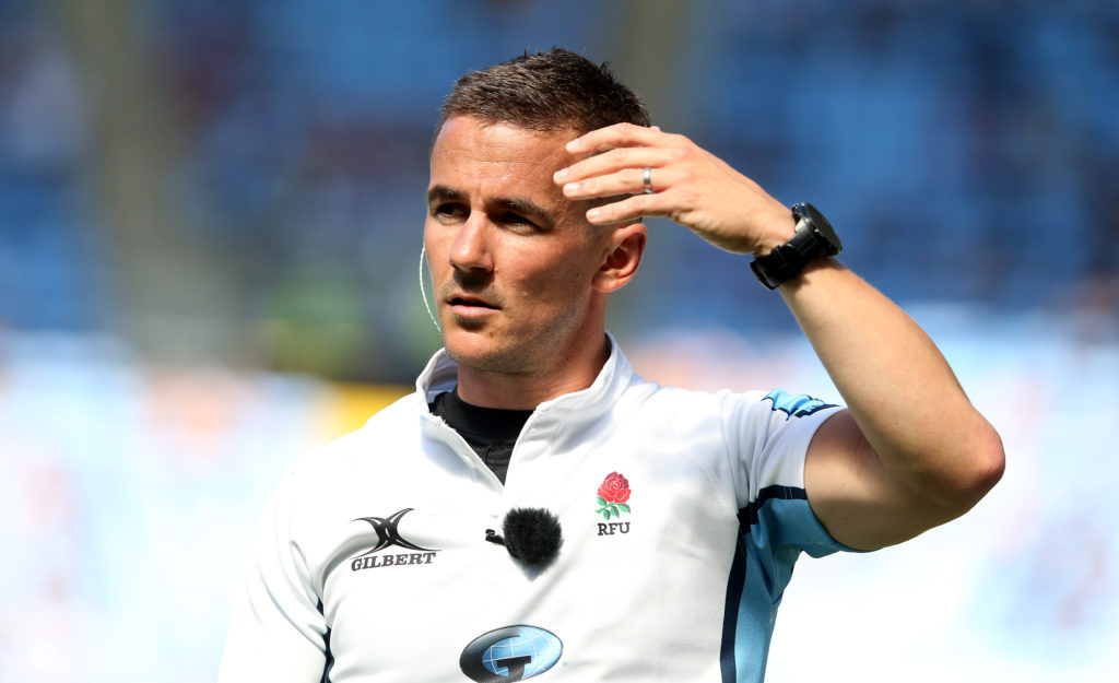 COVENTRY, ENGLAND - JUNE 12: Referee Luke Pearce during the Gallagher Premiership Rugby match between Wasps and Leicester Tigers at Ricoh Arena on June 12, 2021 in Coventry, England.