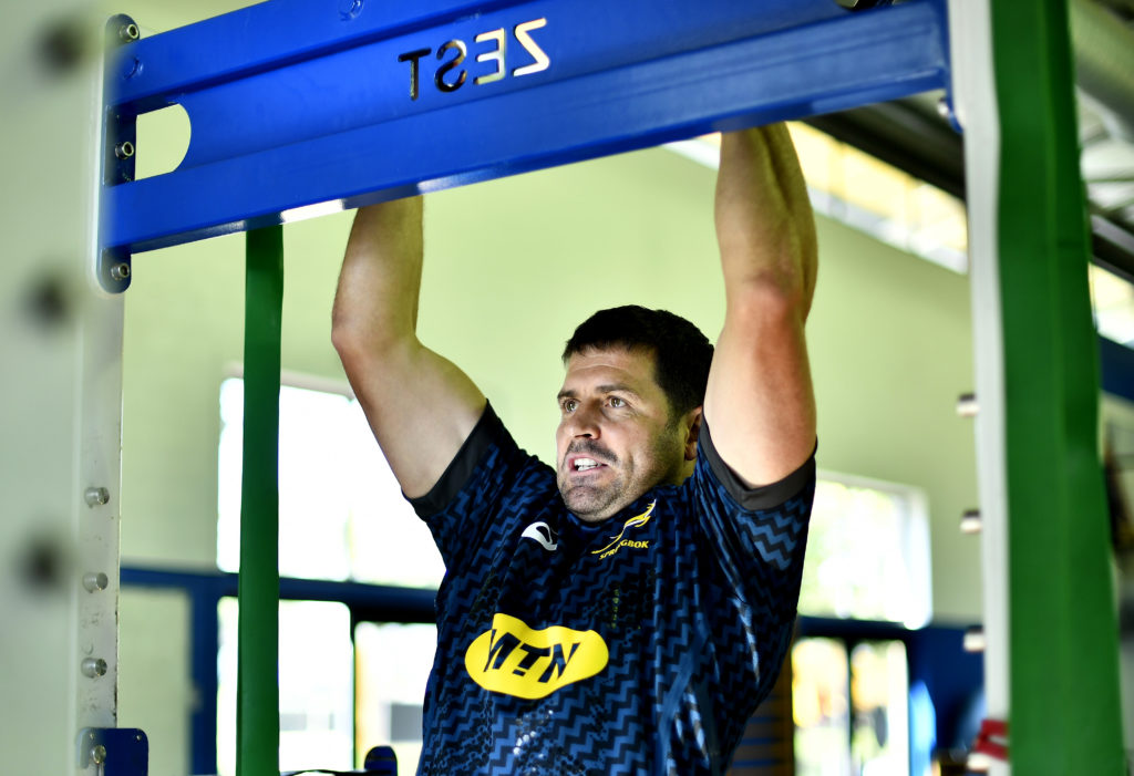 Morné Steyn during the South African men's national rugby team gym session at High Performance Centre on August 03, 2021 in Cape Town, South Africa.