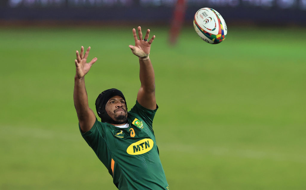 PRETORIA, SOUTH AFRICA - JULY 02: Marvin Orie of South Africa catches the ball during the Rugby Union international match between South Africa and Georgia at Loftus Versfeld Stadium on July 02, 2021 in Pretoria, South Africa.