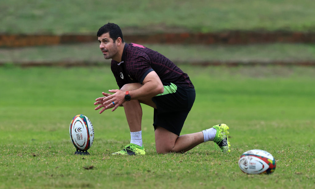 BELLVILLE, SOUTH AFRICA - JULY 19: Morne Steyn lines up a kick during the South Africa Sprinboks training session held at Western Province HPC on July 19, 2021 in Bellville, South Africa.