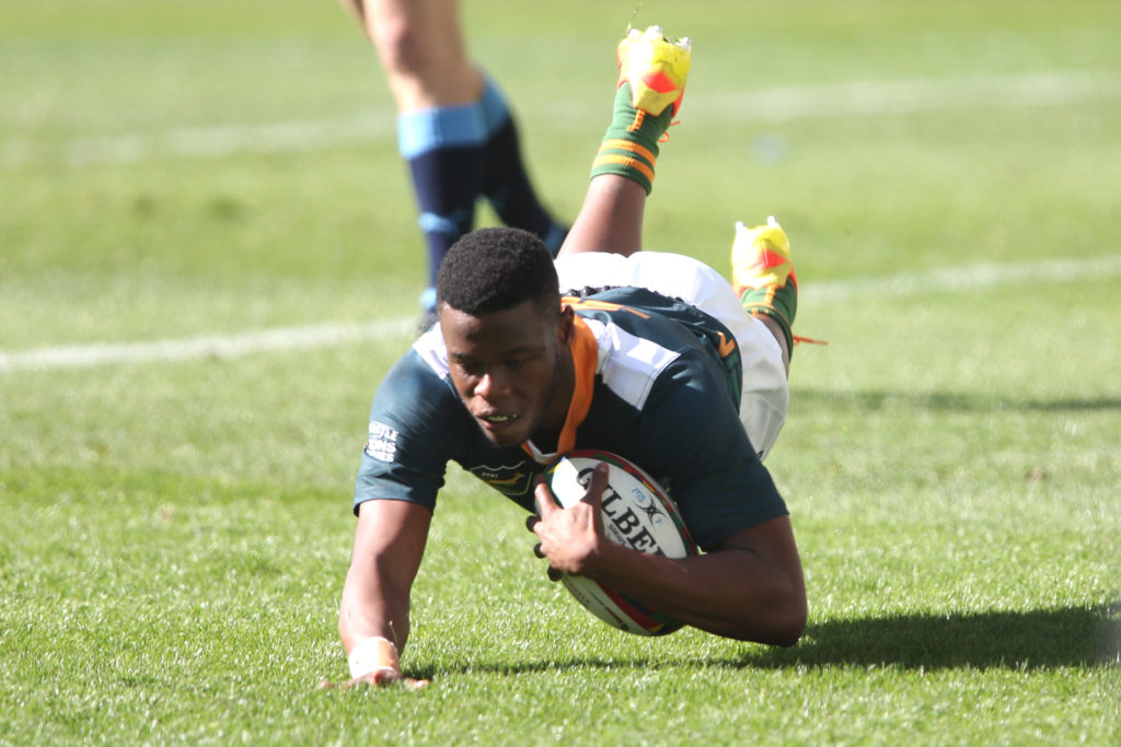 CAPE TOWN, SOUTH AFRICA - JULY 17: Aphelele Fassi of South Africa 'A' dives over to score a try during the match between South Africa A and Vodacom Bulls at Cape Town Stadium on July 17, 2021 in Cape Town, South Africa.