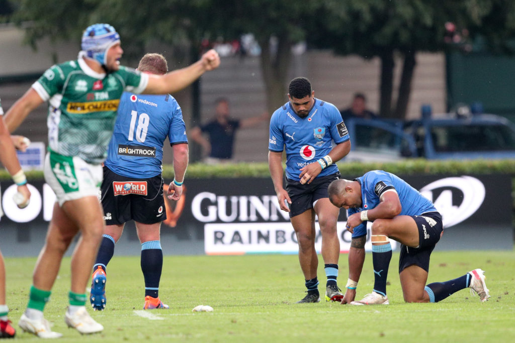 United TREVISO, ITALY - JUNE 19: Bulls players look dejected after the Guinness PRO14 Rainbow Cup final match between Benetton Rugby and Vodacom Bulls at Stadio Comunale di Monigo on June 19, 2021 in Treviso, Italy.