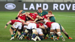 CAPE TOWN, SOUTH AFRICA - JULY 24:Springbok front row scrumming during the Castle Lager Lions Series 1st Test match between South Africa and British and Irish Lions at Cape Town Stadium on July 24, 2021 in Cape Town, South Africa.