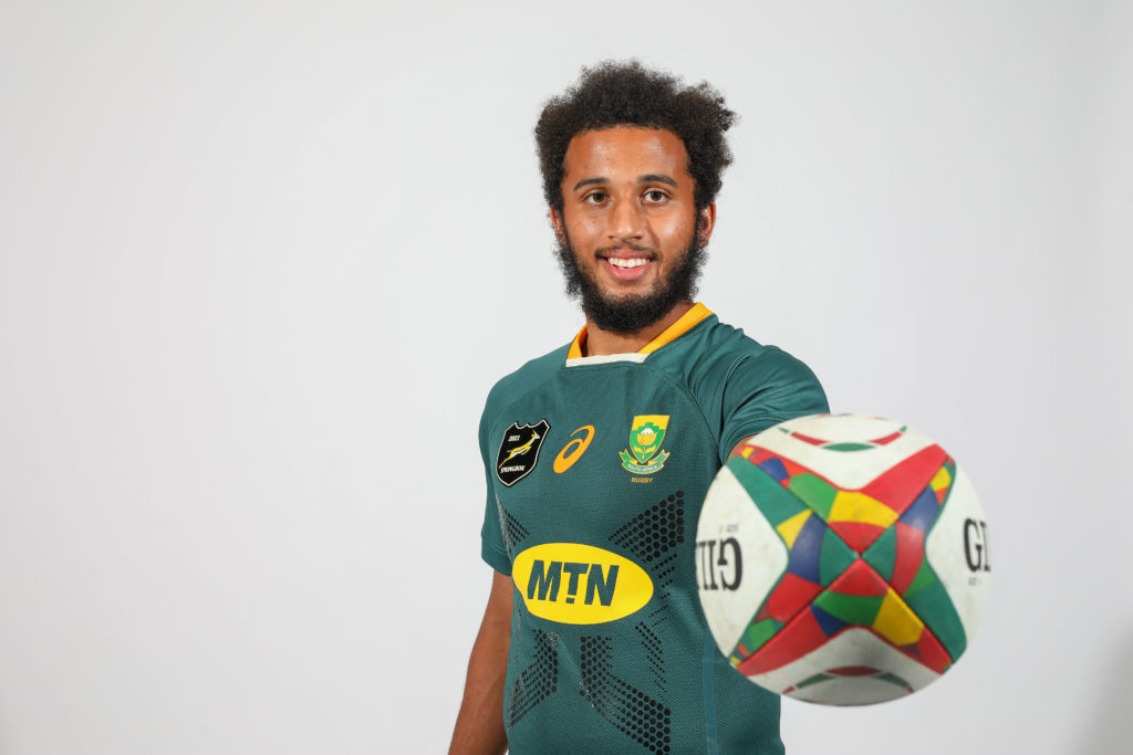 JOHANNESBURG, SOUTH AFRICA - JUNE 26: Jaden Hendrikse during the South African national men's rugby team portrait session at Southern Sun Rosebank on June 26, 2021 in Johannesburg, South Africa.