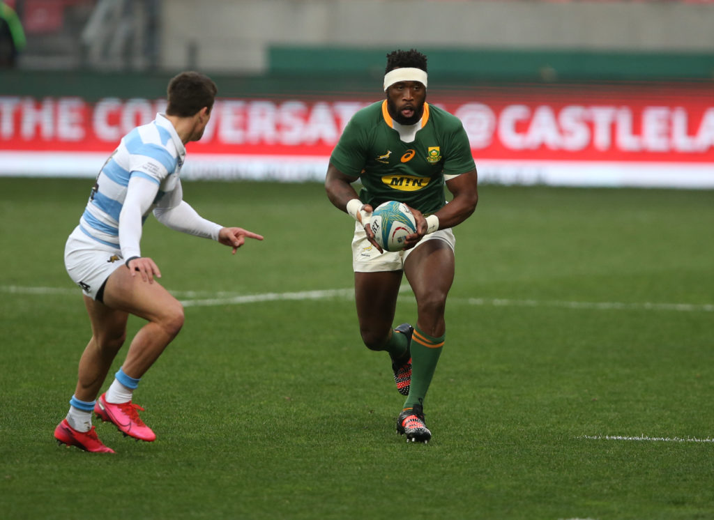 GQEBERHA, SOUTH AFRICA - AUGUST 14: Ball carrier Siya Kolisi of South Africa during the Castle Lager Rugby Championship match between South Africa and Argentina at Nelson Mandela Bay Stadium on August 14, 2021 in Gqeberha, South Africa.